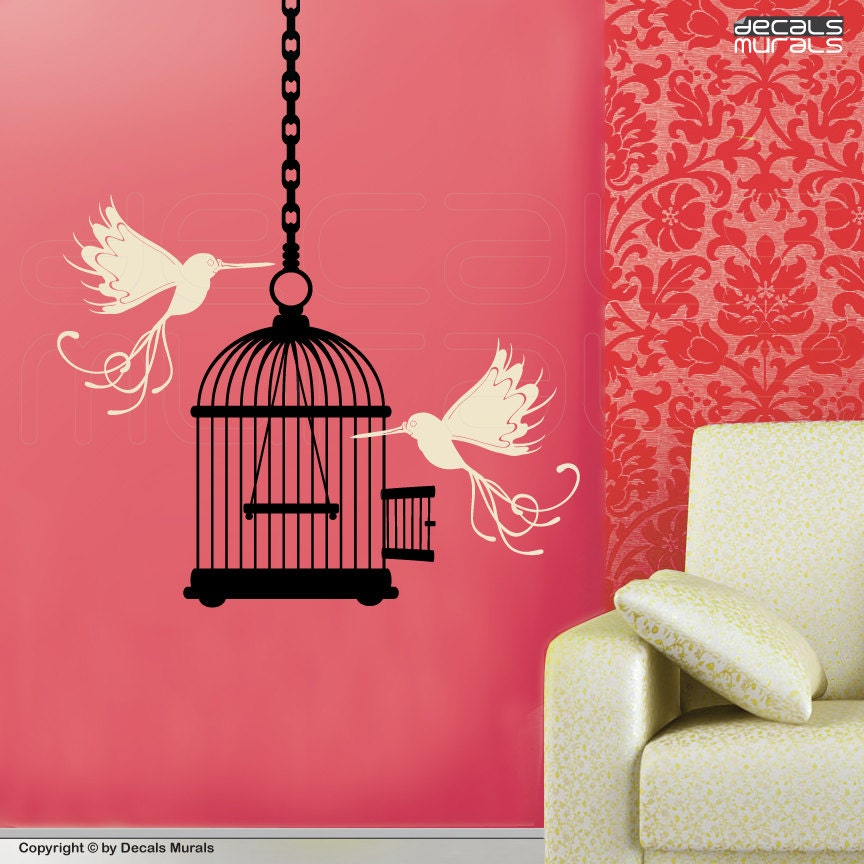 Wall decals whimsical birds bird cage surface graphics for Whimsical decor