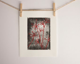 Cottage Decor Linocut POSTER Black with Deep Red Flowers Linocut 8x10