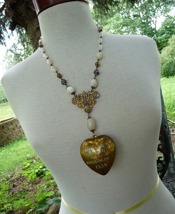 Antique French Congres Marial Sacred Heart Ex Voto Necklace, Our Lady of Boulogne, by RusticGypsyCreations