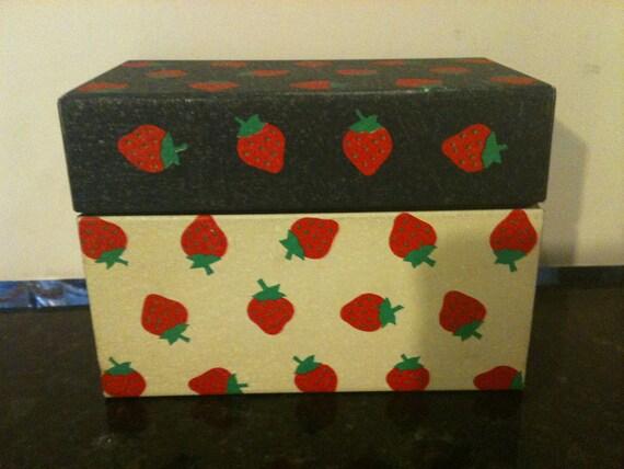 Vintage Strawberry Recipe Box