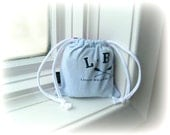 Recycled Long Beach Island T Shirt Bag / Pouch / Gift for Her / Drawstring / Cotton / Vacation / Aqua Berry Tie Dye / Gift Under 5 / ohzie