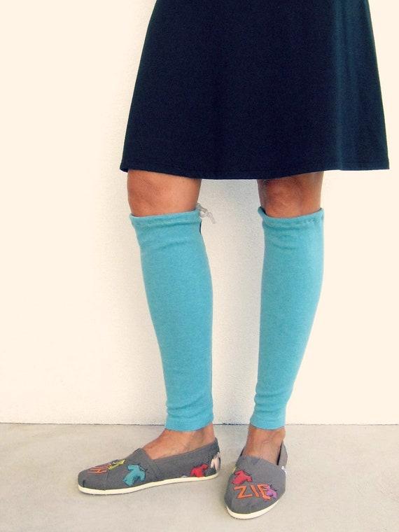 T Shirt Leg Warmers / Turquoise Aqua Blue / Teens / Girls / Fall / Autumn / Cotton Stretch / Warm / Soft / Fashion / by ohzie