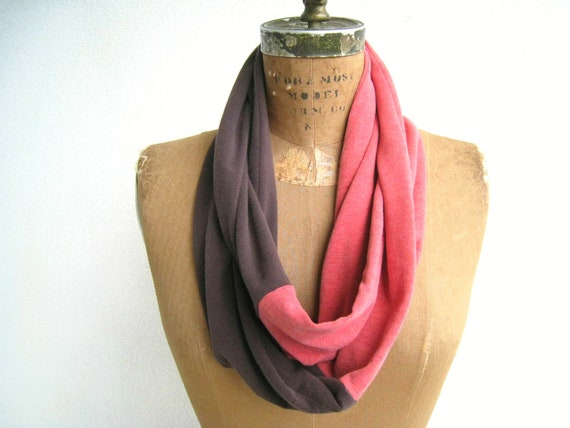 T Shirt Infinity Scarf / Eternity Scarf / Chocolate Brown Red / Fall / Autumn / Cotton / Lightweight / Soft / Gift for Her / by ohzie