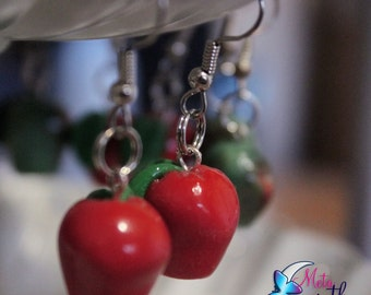 Delicious Red Apple Polymer Earrings