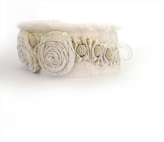Linen Wrist Cuff Bracelet, Trio Rosettes, Rustic Romance