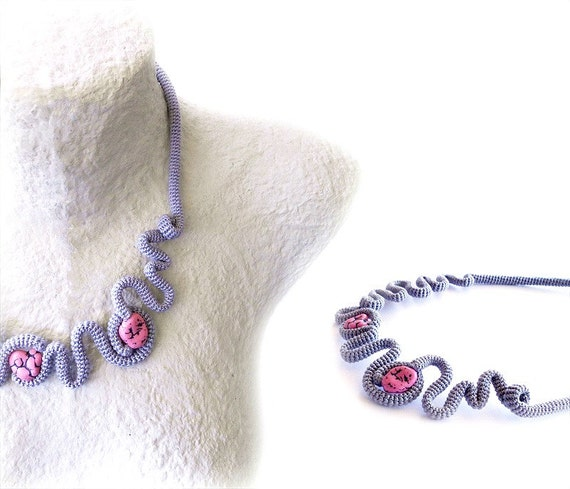 Contemporary Statement Bib Necklace, Grey Crochet Necklace with Pink Nuggets