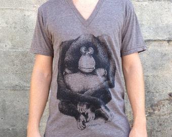 Orangutan Monkey V-Neck, Men's American Apparel Heather Coffee Brown Tri-Blend T-shirt Tee