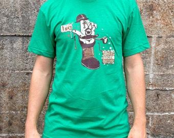 Irregular Hand T-shirt, Men's American Apparel Heather Green Tee