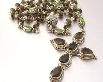 Sterling Silver Smokey Quartz & Peridot Catholic Rosary