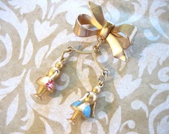 Vintage Ribbon Brooch with Enameled Articulated Charm Figures