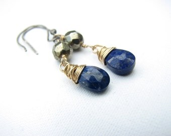 Blue Gold Silver Earrings Lapis Lazuli Fools Gold Pyrite Goldfilled Oxidized Sterling Silver Wire Wrapped