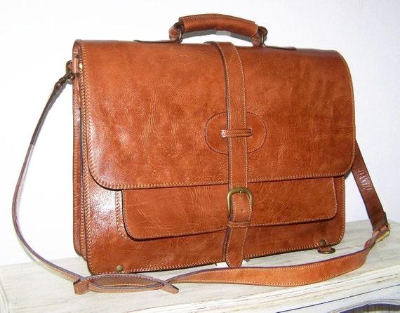 "Caramel-Brown Leather Messenger - Satchel - Backpack - Laptop Bag, Samuel XXL, fits a 17"" / 18"" laptop"