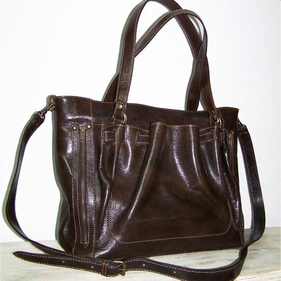 Leather handbag tote purse cross body shoulder bag Rachel in Dark brown SALE