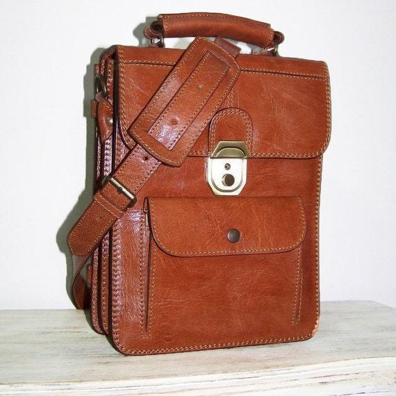 ELIE-BIS S. Caramel Brown Leather Messenger Bag Cross-body Purse