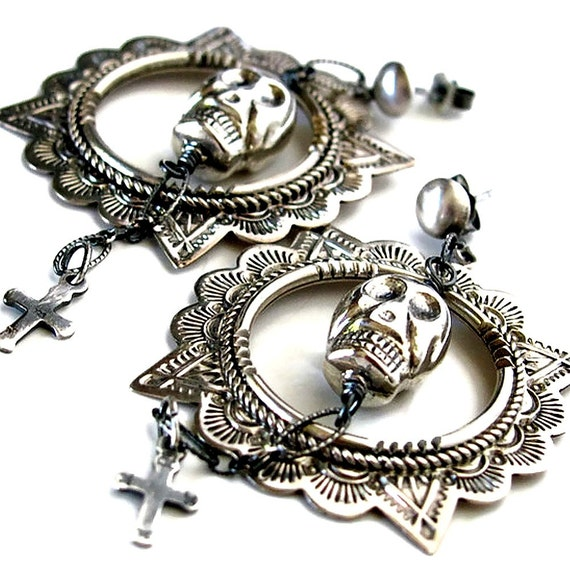 day of the dead earrings sterling silver skull earrings day of