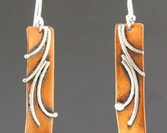 Copper, sterling silver, rectangle earrings, Regina Marie Designs