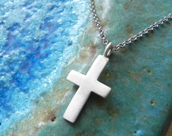Sterling silver cross necklace - men jewelry - gift for him for her - baptism necklace - cross for boy