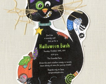 10 Personalized Black Cat Happy Halloween or Birthday Party Invitations - Handcut and Personalized
