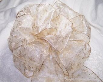 Gold & White Snowflake Bow Winter Wedding Pew Bow or Gift Ribbon Anniversary Autumn Christmas Ribbon