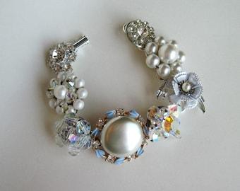 Sparkle Sparkle Sparkle and something blue too Upcycled Earring Wedding Bracelet NEW OLD BLUE