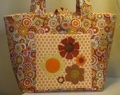 Tote Bag, Orange with Wool Flowers
