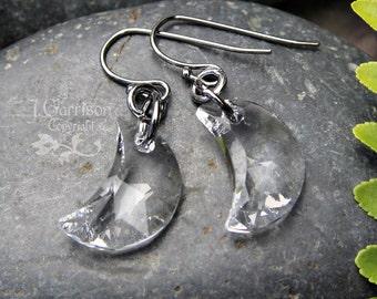 Crystal Crescent Moon earrings- gunmetal earwires - Swarovski crystal - Mystical- Magic -free shipping in USA