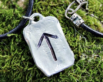 Warrior Rune Necklace - Tiwaz - Truth, Strength, Justice - Elder Futhark pewter charm, leather cord - letter T- Free Shipping USA
