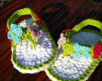 CROCHET PATTERN - shoe, sandal, flip flop, baby pattern, PDF pattern, baby flower sandal, baby shoe, bootie