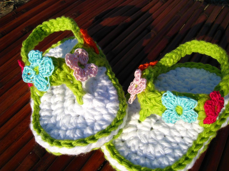 Crochet Pattern Shoe Sandal Flip Flop Baby By Easypeasygrandma