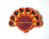 Orange Turkies Crochet Coasters . Thanksgiving Halloween Beverage Drink Tea Coffee Brown Yellow Peacock Peafowl Original Decor Crochet Cute