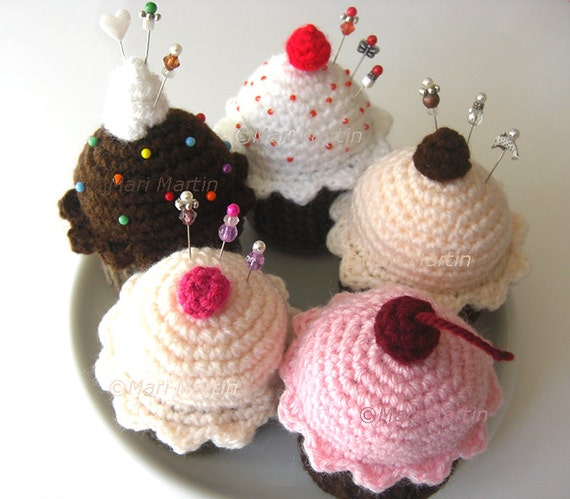 Pattern Crochet Ice Cream . Cupcake Pincushion Toys Cherry Trinket Box Kitchen Decor Nursery Decoration MariMartin Download Immediately