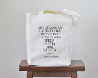 let their books be living books canvas tote bag