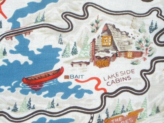 Map to Snowflake Lodge Alexander Henry fabric FQ or more