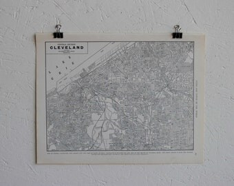 Vintage Map-City of Cleveland-Early 20th Century