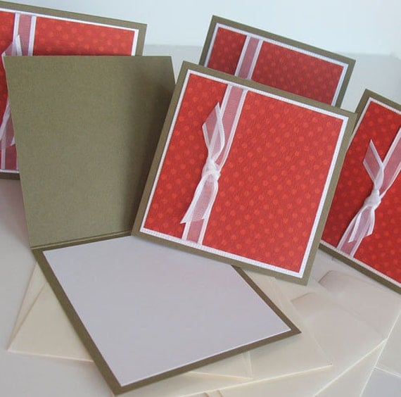 Christmas Miniature Note Cards:  Handmade Blank Christmas / 5 Pack Set - Rudolph's Nose