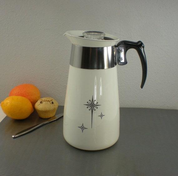 Corning Ware Black Starburst 1950s Coffee Pot By Oldetymestore