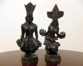 SALE-Vintage-A HIP ORIGINAL-Set of 2 Figurines-Male and Female Dancer-Made in Hawaii-Lava-1976