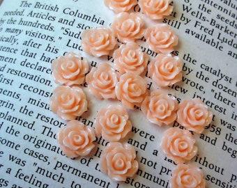 Light Peach Resin Flower Cabochon 10mm