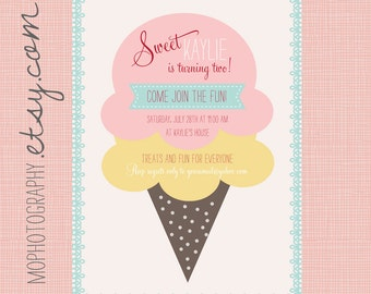Ice Cream Birthday Party - Vintage Modern Invite - Pink, Aqua, Yellow and Brown - 25 PRINTED cards