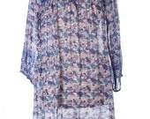 Vintage 70s Woodstock Grateful Dead Hippie Dress Boho Summer Blue Shiny Size L