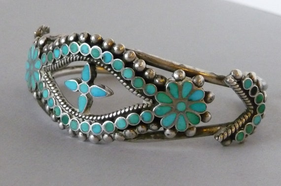 RESERVED Rob and Sandra until 9/19 for Sterling Silver & Turquoise Inlaid Turquoise Cross Cuff Style Bracelet - Vintage