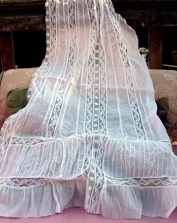Antique Lace Vintage Lace White Lawn Edwardian Dress Panel