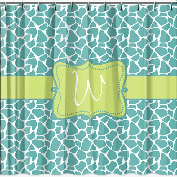 personalized shower curtain monogrammed giraffe pattern shower