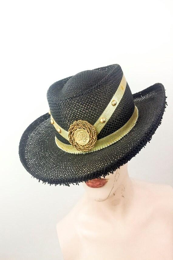 Vintage 80s Womens Pimp Western Mesh Gold Medallion Rodeo Cowboy Hat