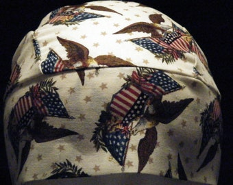 Tan Skull Cap W Eagles, USA Flags, Chemo Cap, Biker, Military, July 4th, Hats, Hair Loss, Head Wrap, Men, Women, Kids, Motorcycle, Vets,Bald
