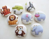 wild animals handmade fabric covered buttons 7/8 inches 22mm