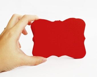 12 Bracket cards, die cut bracket card set,  (4.5 x 3.5 inches) Textured Cardstock, Red or Choose your Color, A182