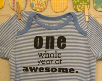 one whole year of awesome --- blue striped bodysuit, size 12 months