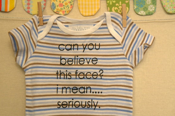 can you believe this face --- blue striped onesie, size 0 - 3 months
