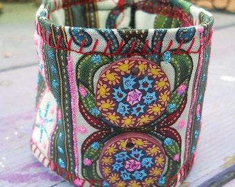 Boho Flower Power Soft Quilted Fabric Cuff Bracelet OOAK